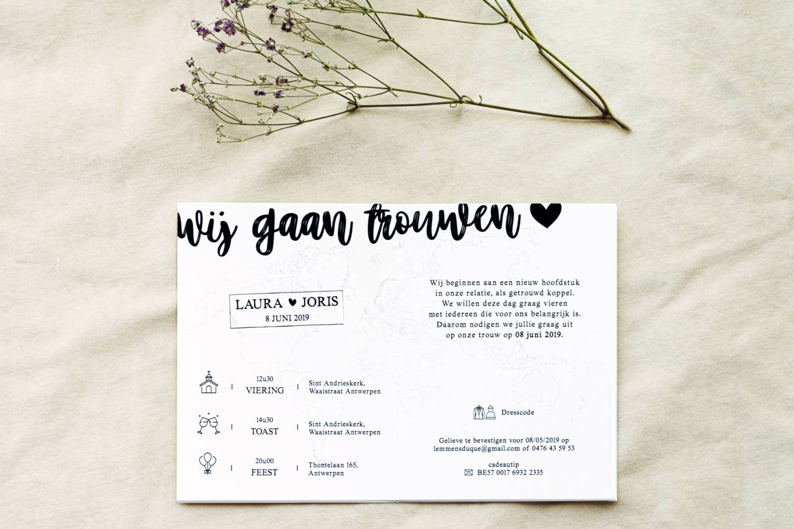 Designcards - trouwuitnodiging - drukwerk huwelijk - grafisch design - House of Weddings - 8