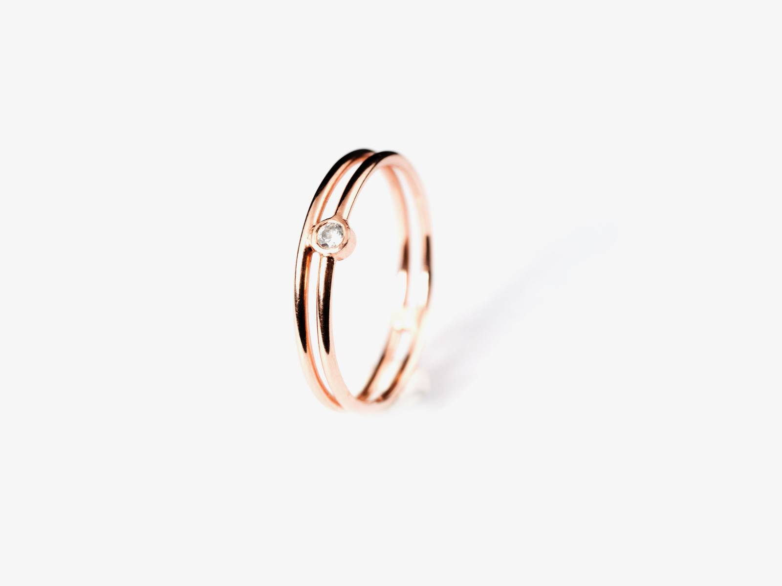 LUX_Double lux ring - pink gold - engagement - diamond