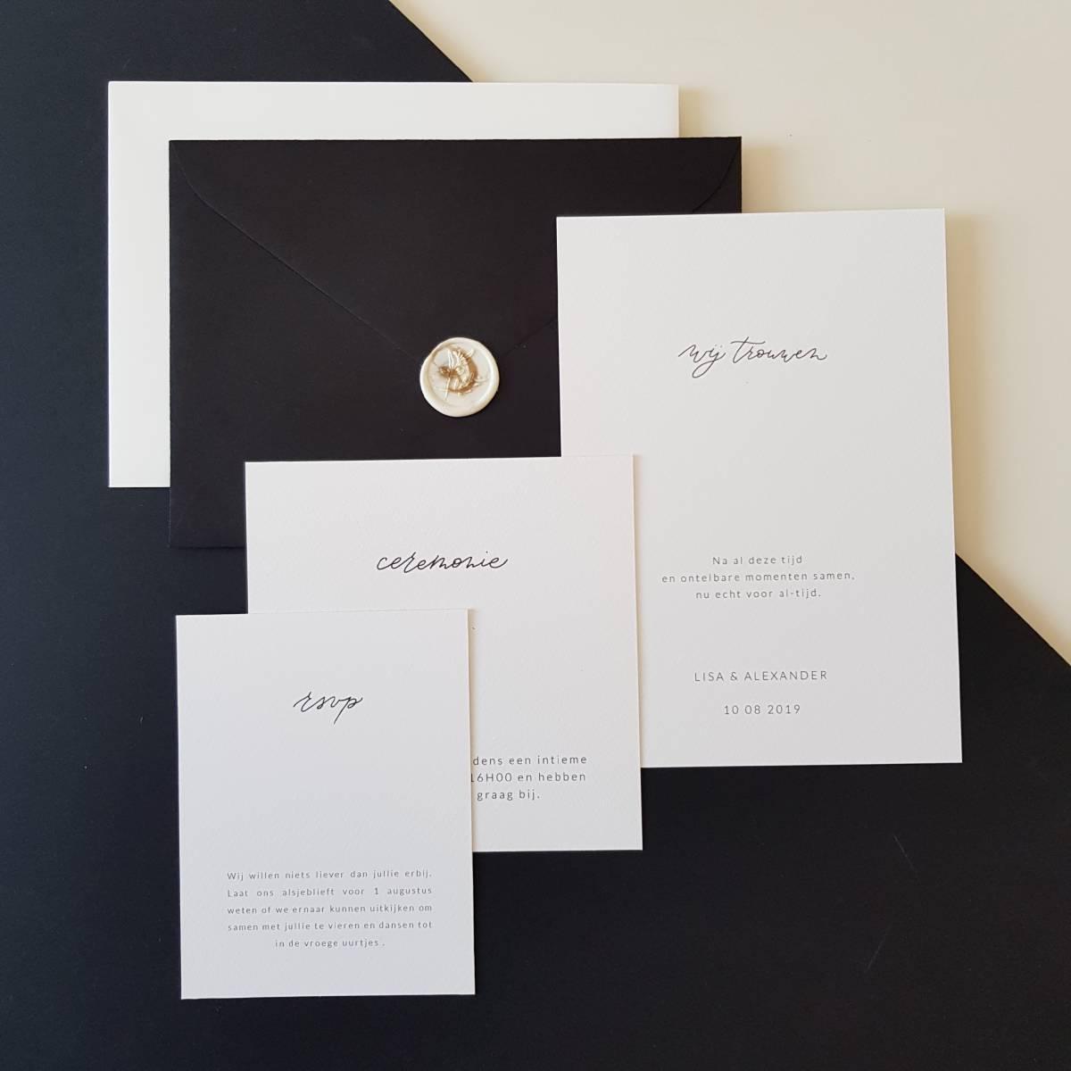 Touch of Gold - Trouwuitnodiging - Huwelijksuitnodiging - Kalligrafie - House of Weddings - 12