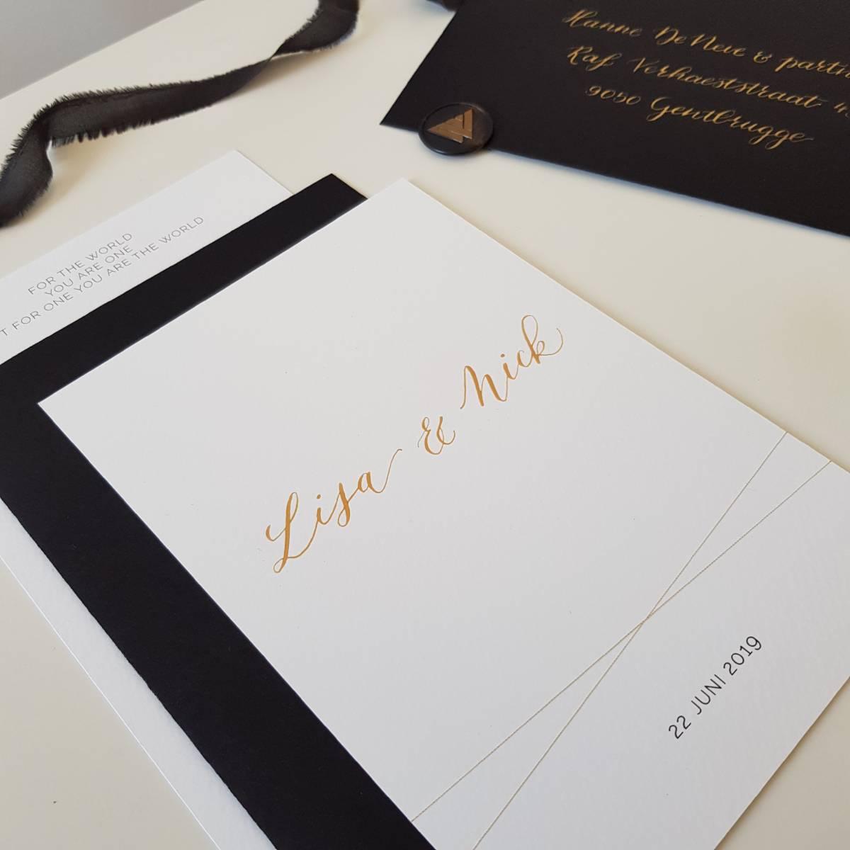 Touch of Gold - Trouwuitnodiging - Huwelijksuitnodiging - Kalligrafie - House of Weddings - 9
