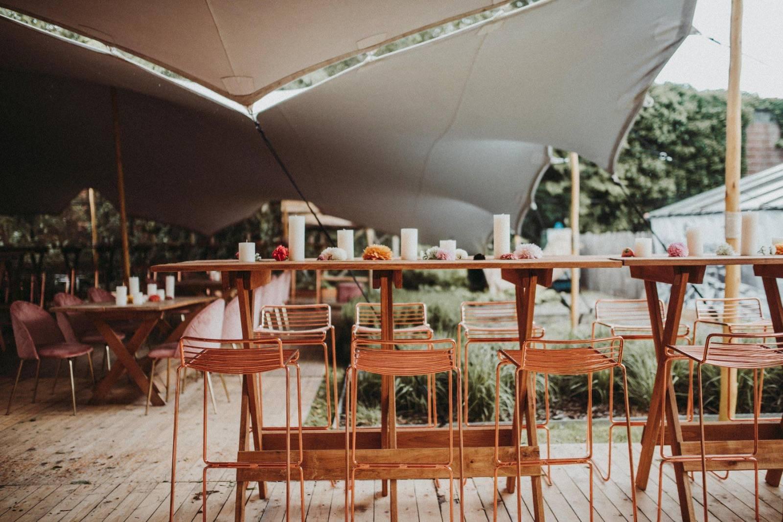 Wood receptietafel, stockholm rose, wood tafel, verona rose - cachet events