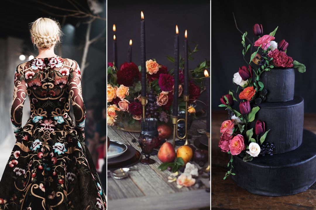 Zwarte bruidsjurk - Donker met bloemen - header